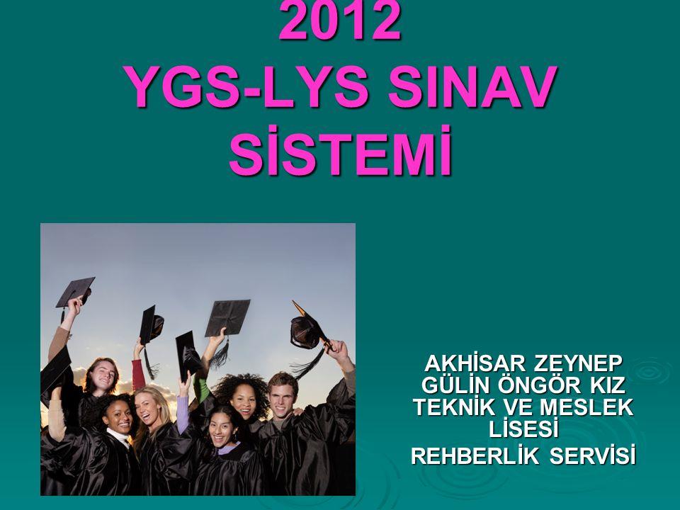 2012 YGS-LYS SINAV SİSTEMİ AKHİSAR ZEYNEP GÜLİN ÖNGÖR KIZ TEKNİK VE MESLEK LİSESİ REHBERLİK SERVİSİ