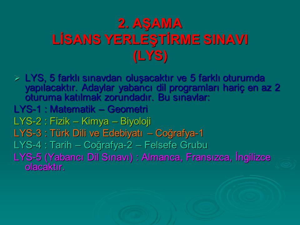 2. AŞAMA LİSANS YERLEŞTİRME SINAVI (LYS)  LYS, 5 farklı sınavdan oluşacaktır ve 5 farklı oturumda yapılacaktır. Adaylar yabancı dil programları hariç