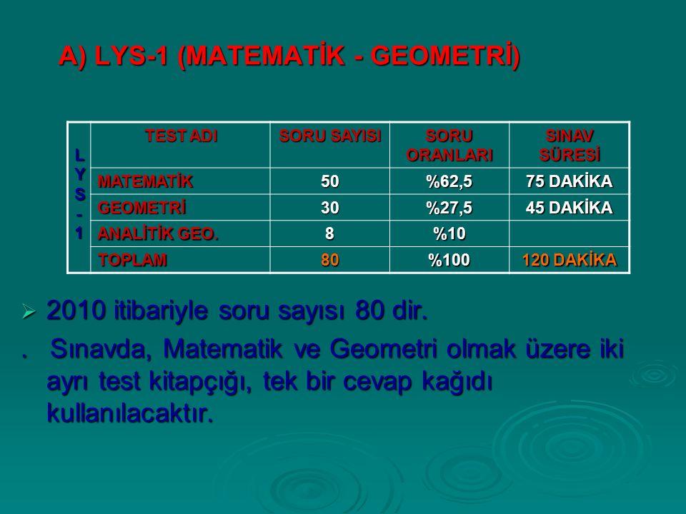 A) LYS-1 (MATEMATİK - GEOMETRİ)  2010 itibariyle soru sayısı 80 dir..