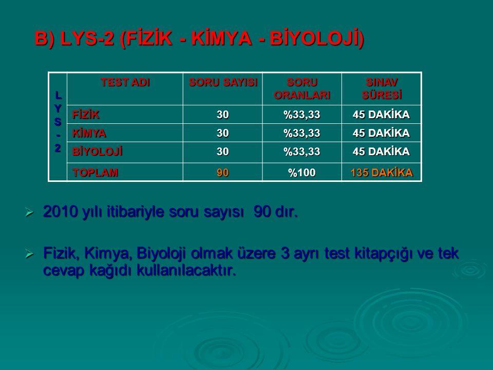 B) LYS-2 (FİZİK - KİMYA - BİYOLOJİ)  2010 yılı itibariyle soru sayısı 90 dır.
