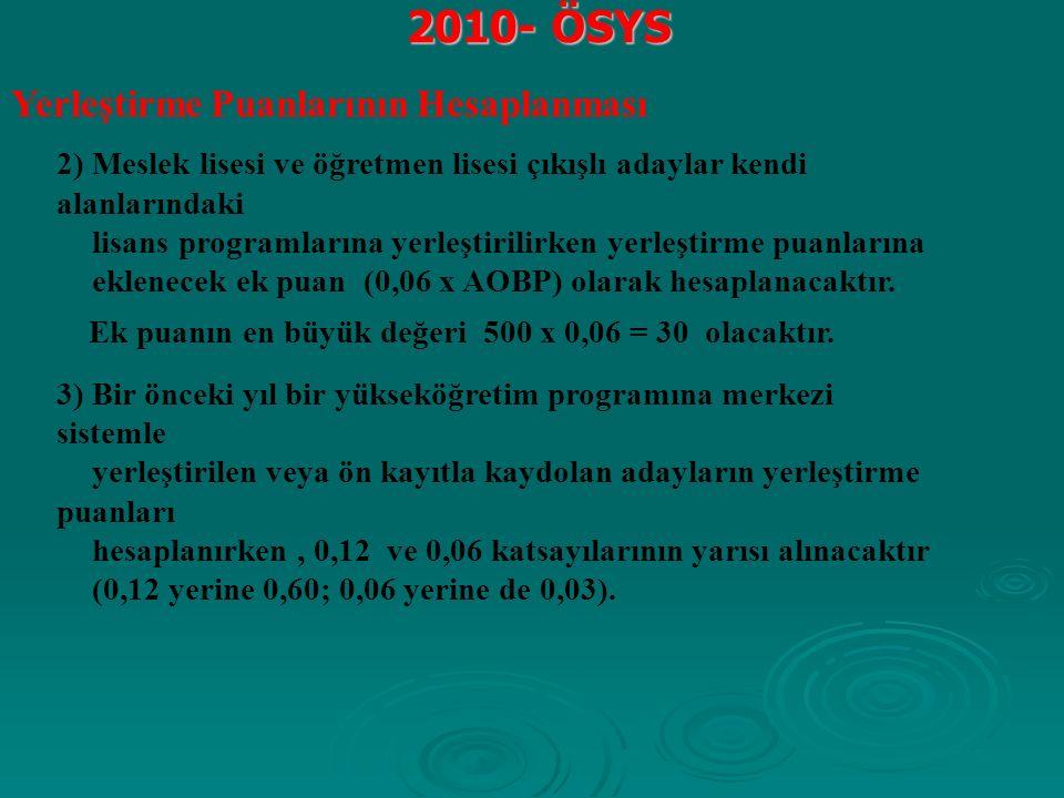 2010- ÖSYS Yerleştirme Puanlarının Hesaplanması 2) Meslek lisesi ve öğretmen lisesi çıkışlı adaylar kendi alanlarındaki lisans programlarına yerleştirilirken yerleştirme puanlarına eklenecek ek puan (0,06 x AOBP) olarak hesaplanacaktır.