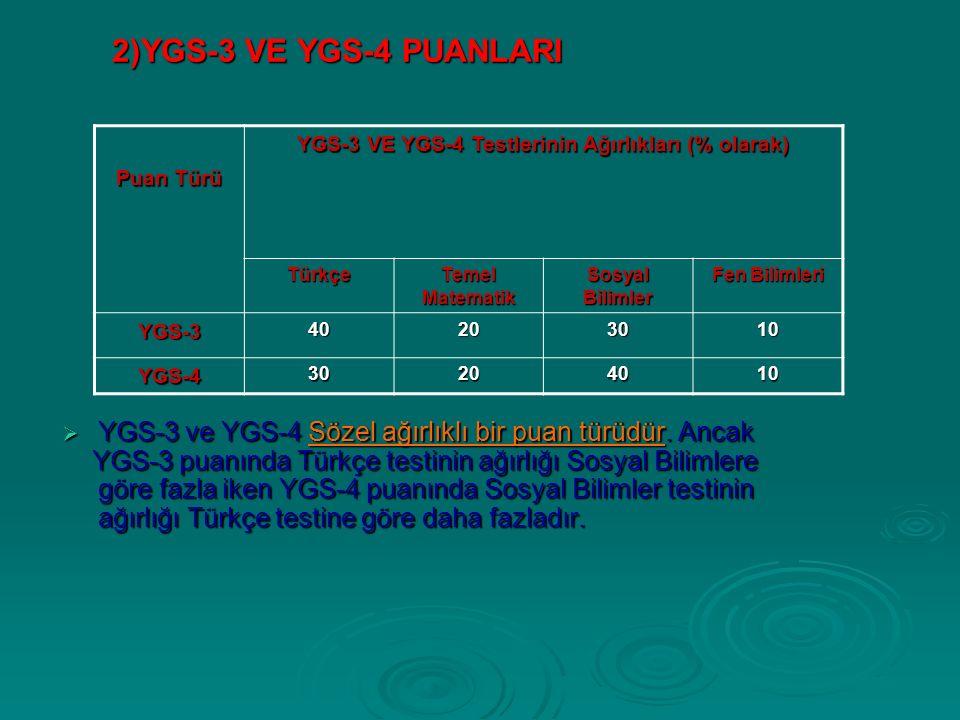 2)YGS-3 VE YGS-4 PUANLARI  YGS-3 ve YGS-4 Sözel ağırlıklı bir puan türüdür.