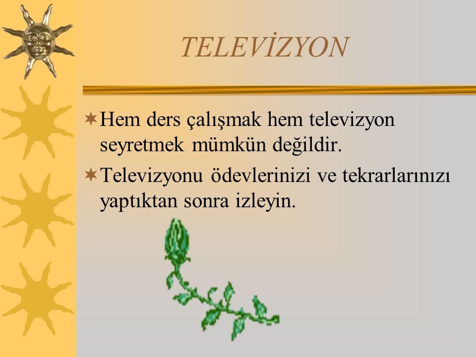 TELEVİZYON  Hem ders çalışmak hem televizyon seyretmek mümkün değildir.  Televizyonu ödevlerinizi ve tekrarlarınızı yaptıktan sonra izleyin.