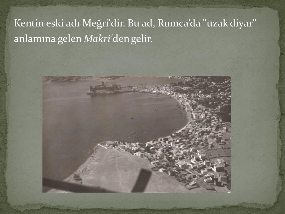 Kentin eski adı Meğri dir. Bu ad, Rumca'da uzak diyar anlamına gelen Makri den gelir.