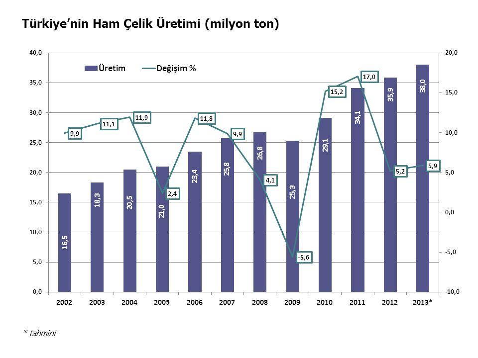 Türkiye'nin Ham Çelik Üretimi (milyon ton) * tahmini