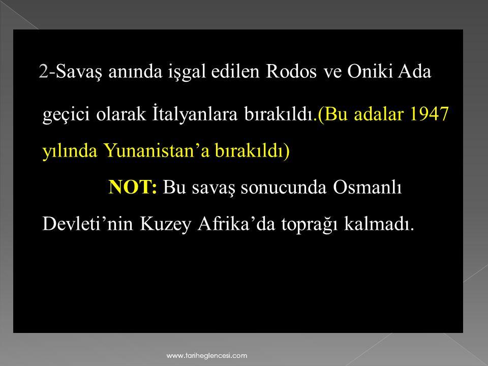 Osmanlı Devleti halkı örgütleyerek savaşta başarılar kazandıysa da Balkan Savaşı'nın başlaması üzerine İtalya ile Ouchy (Uşi) Ant- laşmasını imzalamak