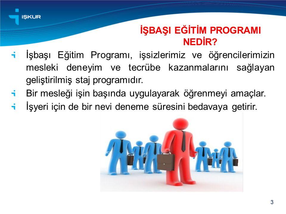 İşbaşı Eğitim Programı, işsizlerimiz ve öğrencilerimizin mesleki deneyim ve tecrübe kazanmalarını sağlayan geliştirilmiş staj programıdır.
