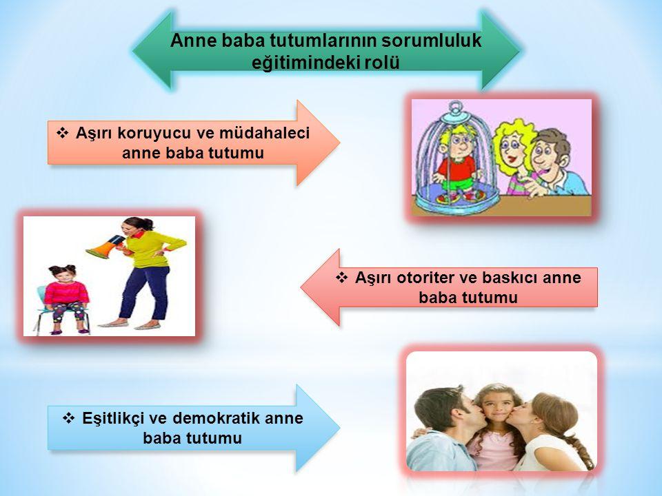 Anne baba tutumlarının sorumluluk eğitimindeki rolü  Aşırı koruyucu ve müdahaleci anne baba tutumu  Aşırı otoriter ve baskıcı anne baba tutumu  Eşitlikçi ve demokratik anne baba tutumu