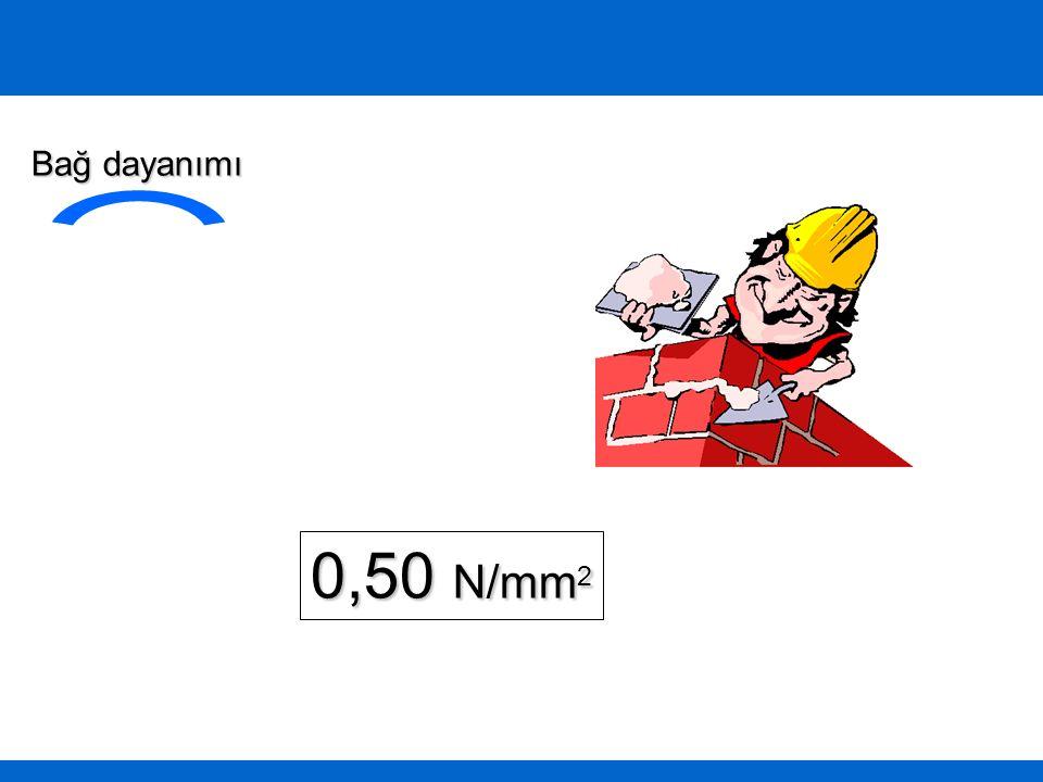 0,50 N/mm 2 Bağ dayanımı