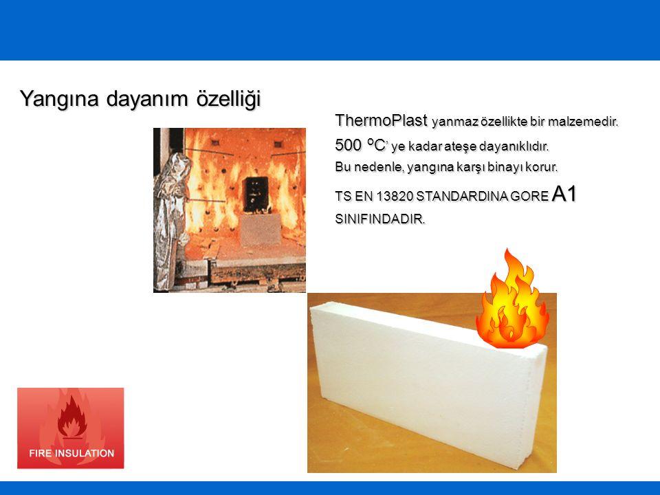 ThermoPlast yanmaz özellikte bir malzemedir. 500 o C ' ye kadar ateşe dayanıklıdır. Bu nedenle, yangına karşı binayı korur. TS EN 13820 STANDARDINA GO