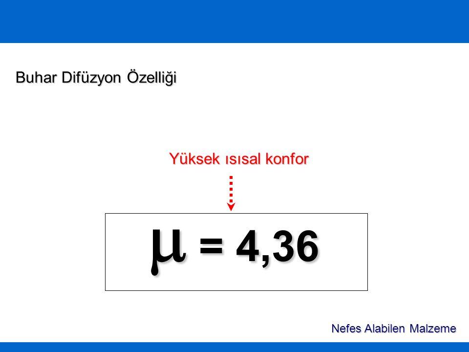  = 4,36 Buhar Difüzyon Özelliği Yüksek ısısal konfor Nefes Alabilen Malzeme