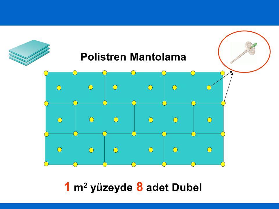 Polistren Mantolama 1 m 2 yüzeyde 8 adet Dubel