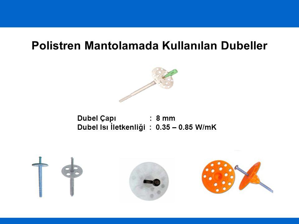 Polistren Mantolamada Kullanılan Dubeller Dubel Çapı : 8 mm Dubel Isı İletkenliği : 0.35 – 0.85 W/mK