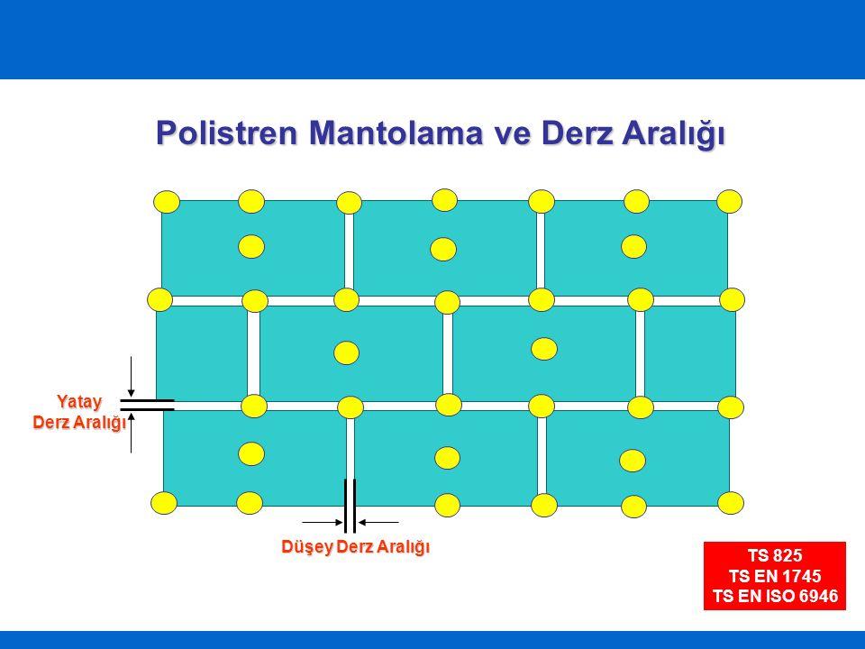 Polistren Mantolama ve Derz Aralığı Düşey Derz Aralığı Yatay Derz Aralığı TS 825 TS EN 1745 TS EN ISO 6946