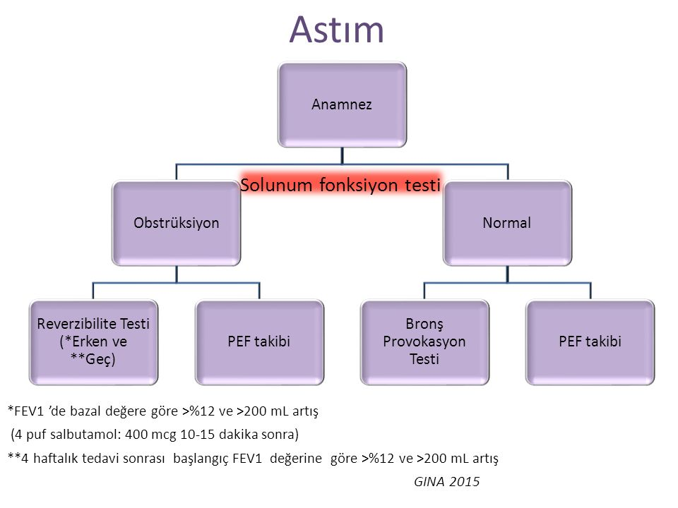 AnamnezObstrüksiyon Reverzibilite Testi (*Erken ve **Geç) PEF takibiNormal Bronş Provokasyon Testi PEF takibi Astım Solunum fonksiyon testi *FEV1 'de