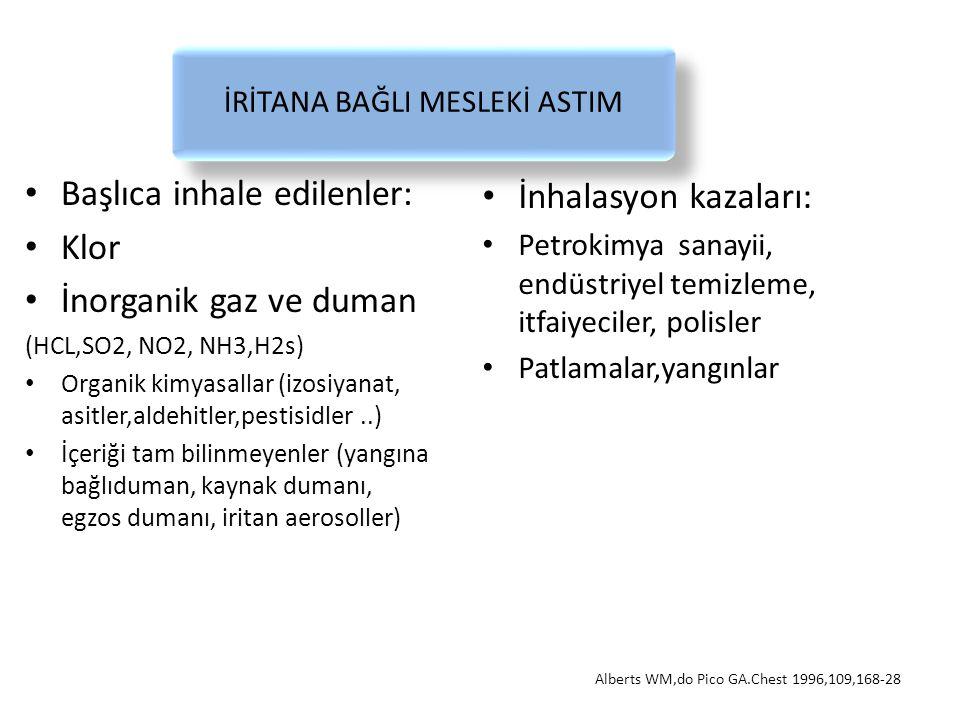 İRİTANA BAĞLI MESLEKİ ASTIM Başlıca inhale edilenler: Klor İnorganik gaz ve duman (HCL,SO2, NO2, NH3,H2s) Organik kimyasallar (izosiyanat, asitler,ald