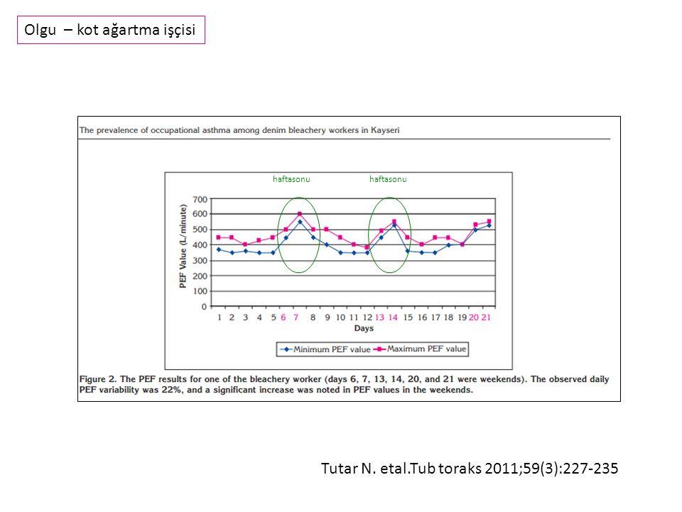 Tutar N. etal.Tub toraks 2011;59(3):227-235 Olgu – kot ağartma işçisi haftasonu