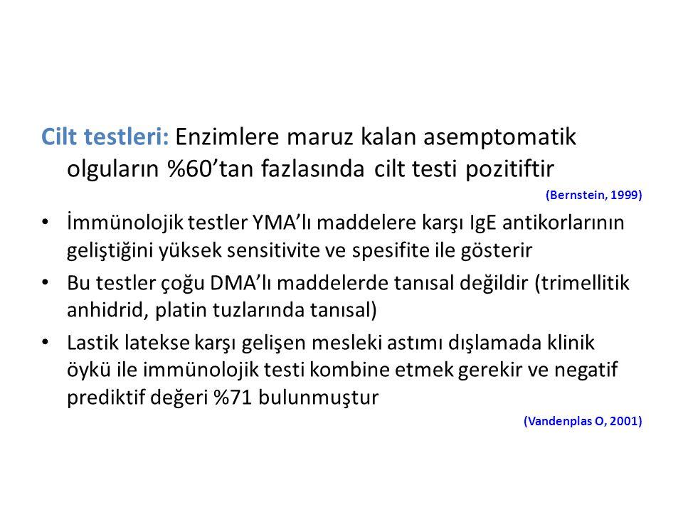 Cilt testleri: Enzimlere maruz kalan asemptomatik olguların %60'tan fazlasında cilt testi pozitiftir (Bernstein, 1999) İmmünolojik testler YMA'lı madd