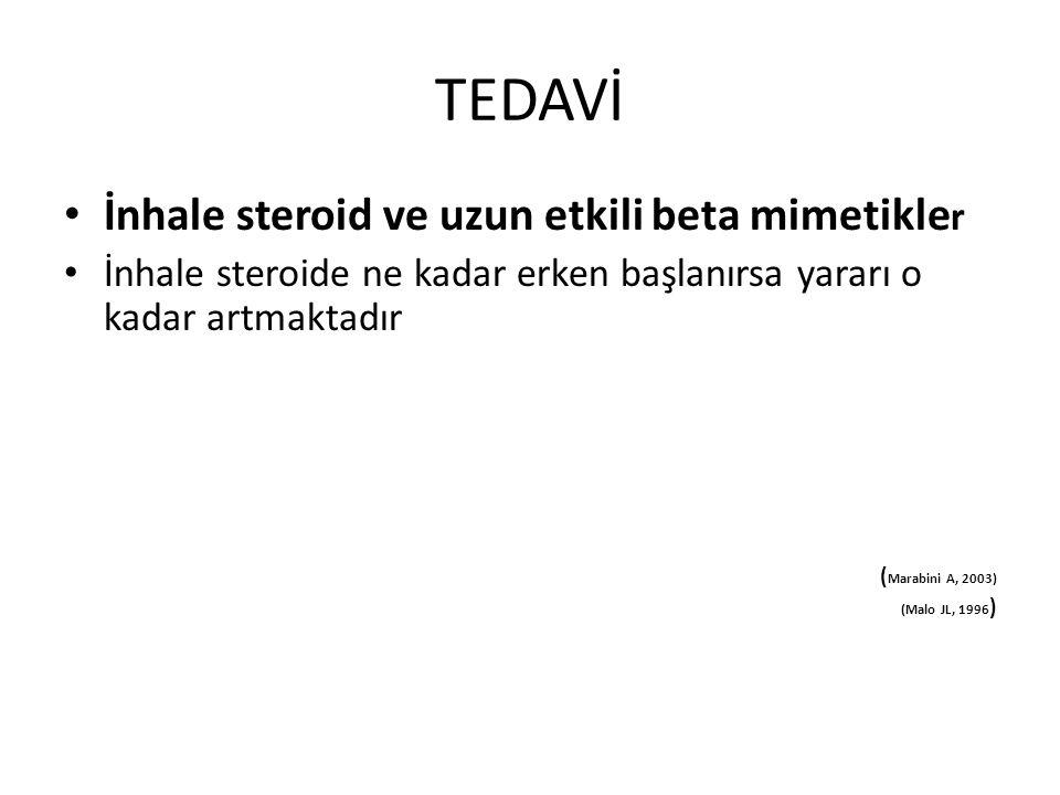 TEDAVİ İnhale steroid ve uzun etkili beta mimetikle r İnhale steroide ne kadar erken başlanırsa yararı o kadar artmaktadır ( Marabini A, 2003) (Malo J