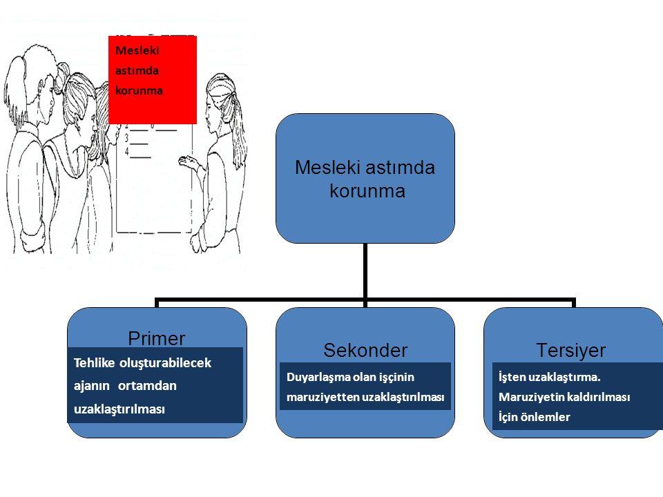 Mesleki astımda korunma Primer (tehlikeyi hasar oluşmadan azaltma) Sekonder (yüksek riskli grubun izlenmesi) Tersiyer (kalıcı astımdan korunma) Meslek