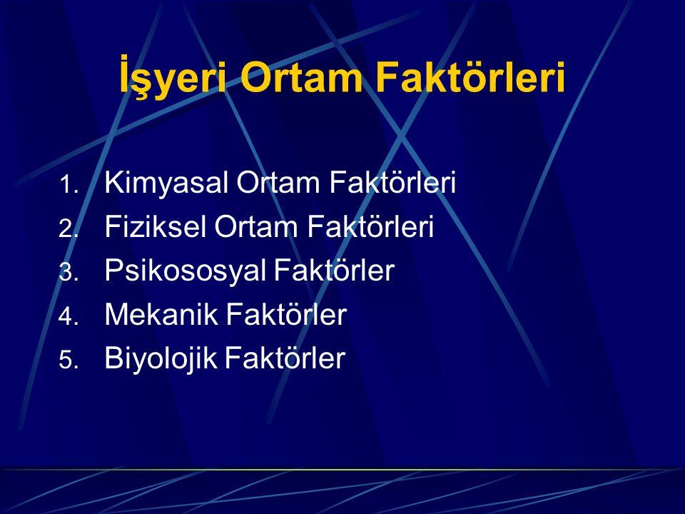 İşyeri Ortam Faktörleri 1. Kimyasal Ortam Faktörleri 2. Fiziksel Ortam Faktörleri 3. Psikososyal Faktörler 4. Mekanik Faktörler 5. Biyolojik Faktörler