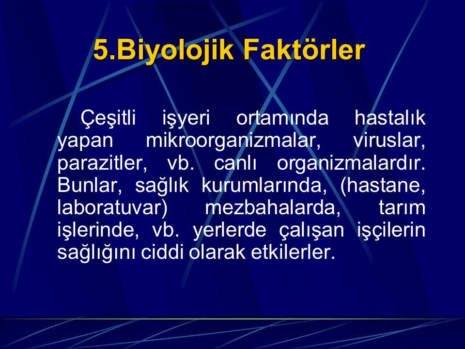 5.Biyolojik Faktörler Çeşitli işyeri ortamında hastalık yapan mikroorganizmalar, viruslar, parazitler, vb. canlı organizmalardır. Bunlar, sağlık kurum