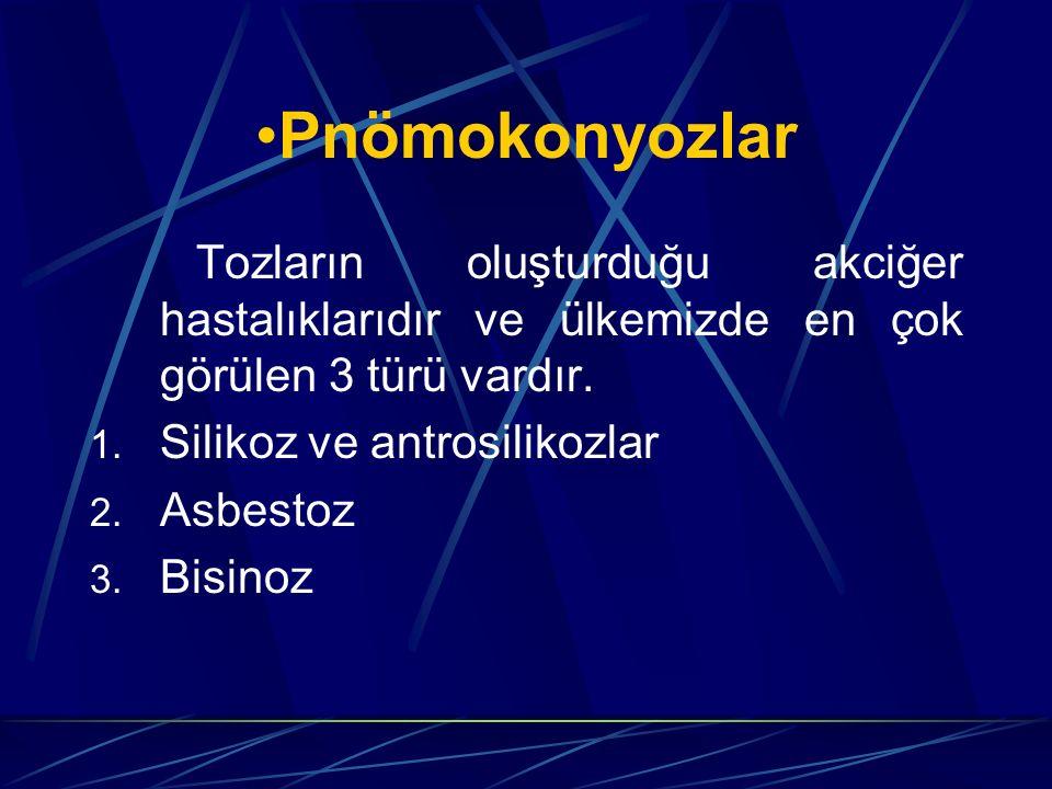 Pnömokonyozlar Tozların oluşturduğu akciğer hastalıklarıdır ve ülkemizde en çok görülen 3 türü vardır. 1. Silikoz ve antrosilikozlar 2. Asbestoz 3. Bi
