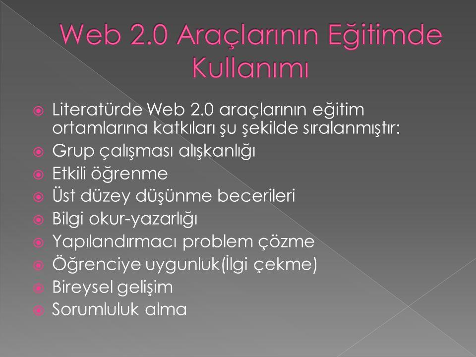  Literatürde Web 2.0 araçlarının eğitim ortamlarına katkıları şu şekilde sıralanmıştır:  Grup çalışması alışkanlığı  Etkili öğrenme  Üst düzey düşünme becerileri  Bilgi okur-yazarlığı  Yapılandırmacı problem çözme  Öğrenciye uygunluk(İlgi çekme)  Bireysel gelişim  Sorumluluk alma