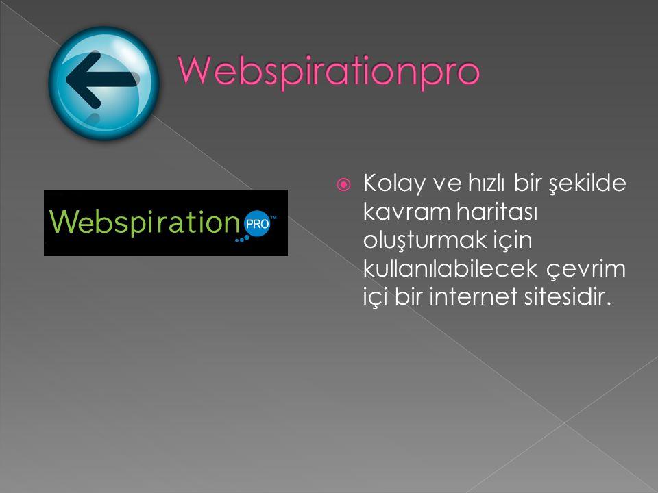  Kolay ve hızlı bir şekilde kavram haritası oluşturmak için kullanılabilecek çevrim içi bir internet sitesidir.