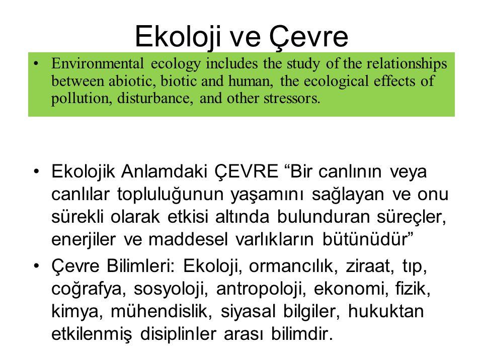 """Ekoloji ve Çevre Ekolojik Anlamdaki ÇEVRE """"Bir canlının veya canlılar topluluğunun yaşamını sağlayan ve onu sürekli olarak etkisi altında bulunduran s"""