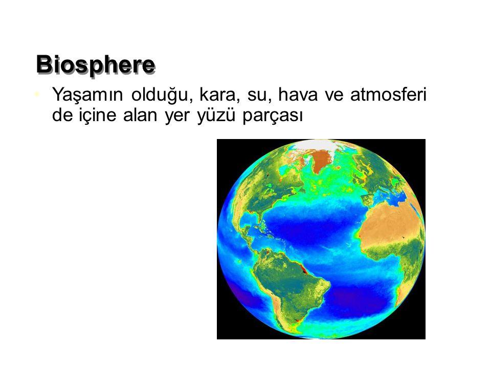 Biosphere Yaşamın olduğu, kara, su, hava ve atmosferi de içine alan yer yüzü parçası