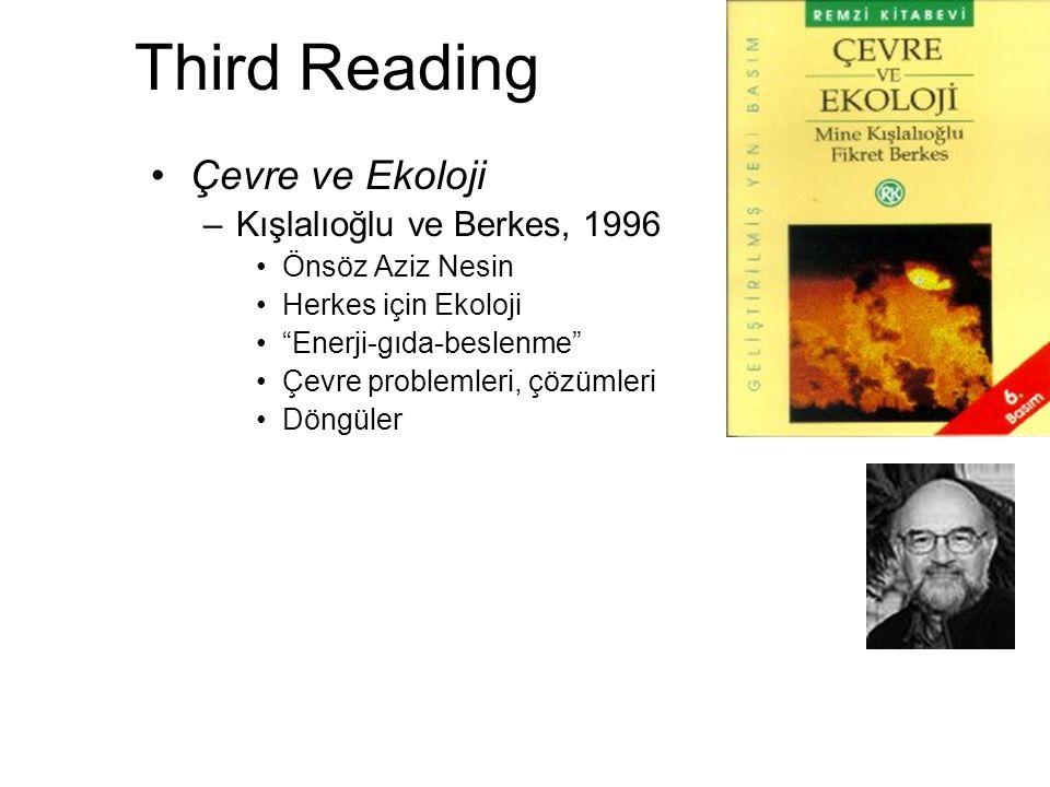 """Third Reading Çevre ve Ekoloji –Kışlalıoğlu ve Berkes, 1996 Önsöz Aziz Nesin Herkes için Ekoloji """"Enerji-gıda-beslenme"""" Çevre problemleri, çözümleri D"""