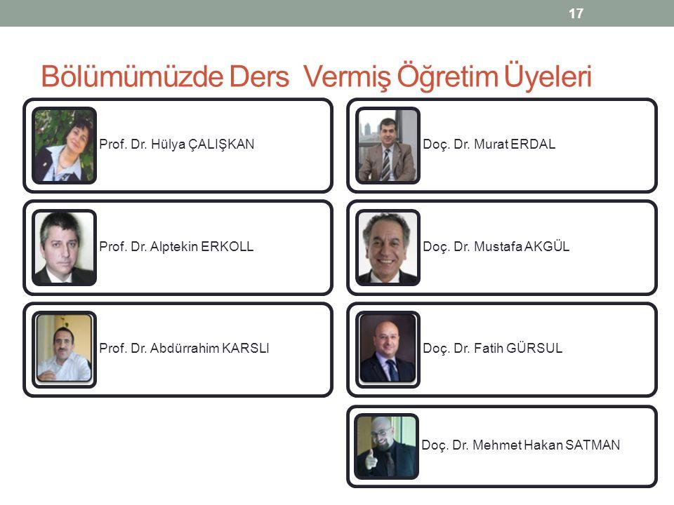 Bölümümüzde Ders Vermiş Öğretim Üyeleri 17 Prof. Dr. Hülya ÇALIŞKAN Prof. Dr. Alptekin ERKOLL Prof. Dr. Abdürrahim KARSLI Doç. Dr. Murat ERDAL Doç. Dr