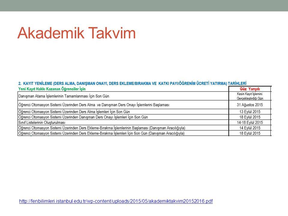 Akademik Takvim http://fenbilimleri.istanbul.edu.tr/wp-content/uploads/2015/05/akademiktakvim20152016.pdf