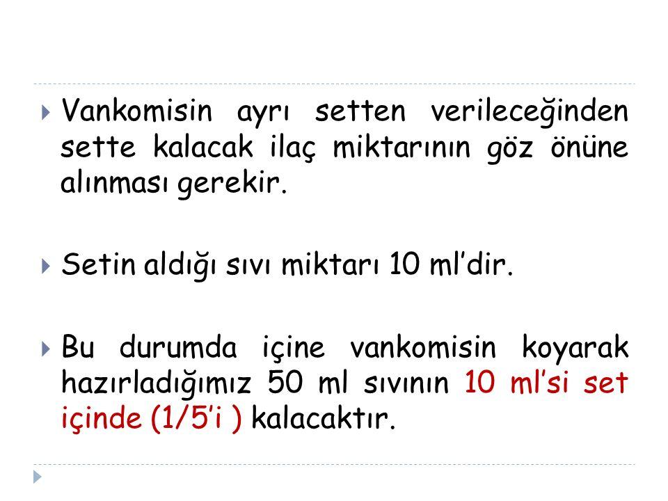  Vankomisin ayrı setten verileceğinden sette kalacak ilaç miktarının göz önüne alınması gerekir.  Setin aldığı sıvı miktarı 10 ml'dir.  Bu durumda