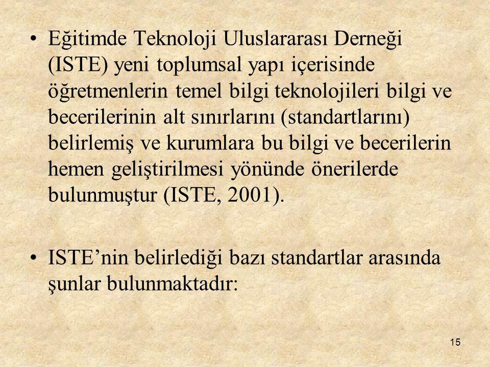 15 Eğitimde Teknoloji Uluslararası Derneği (ISTE) yeni toplumsal yapı içerisinde öğretmenlerin temel bilgi teknolojileri bilgi ve becerilerinin alt sı