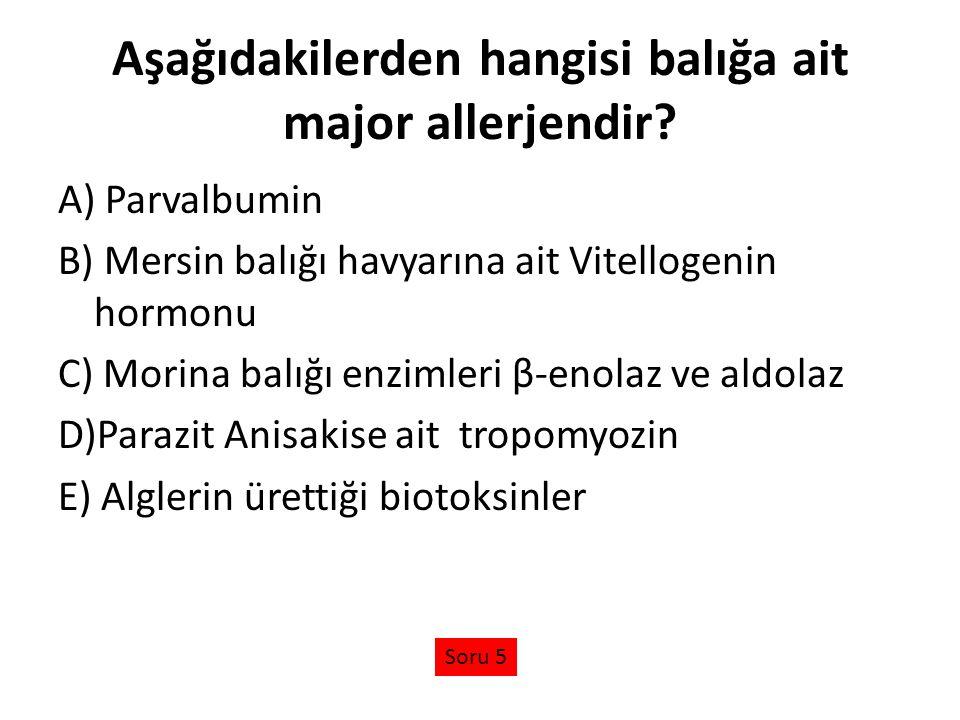 Aşağıdakilerden hangisi balığa ait major allerjendir? A) Parvalbumin B) Mersin balığı havyarına ait Vitellogenin hormonu C) Morina balığı enzimleri β-