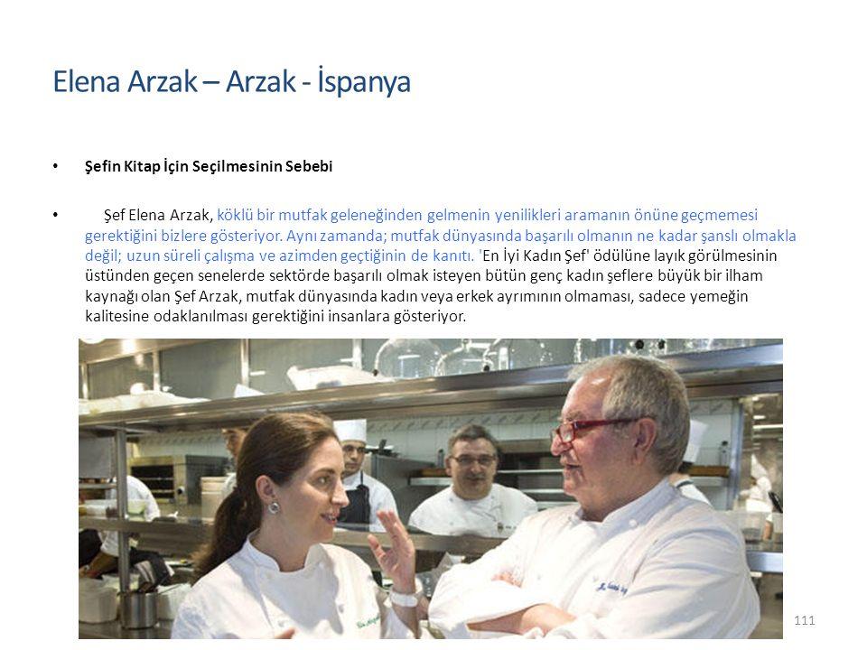 Şefin Kitap İçin Seçilmesinin Sebebi Şef Elena Arzak, köklü bir mutfak geleneğinden gelmenin yenilikleri aramanın önüne geçmemesi gerektiğini bizlere