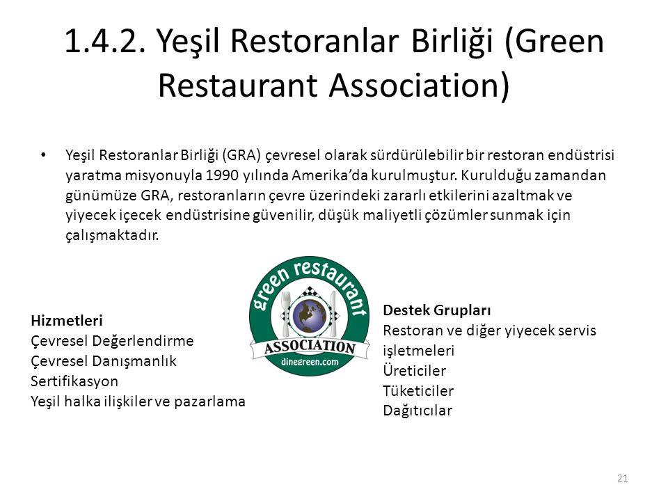 1.4.2. Yeşil Restoranlar Birliği (Green Restaurant Association) Yeşil Restoranlar Birliği (GRA) çevresel olarak sürdürülebilir bir restoran endüstrisi