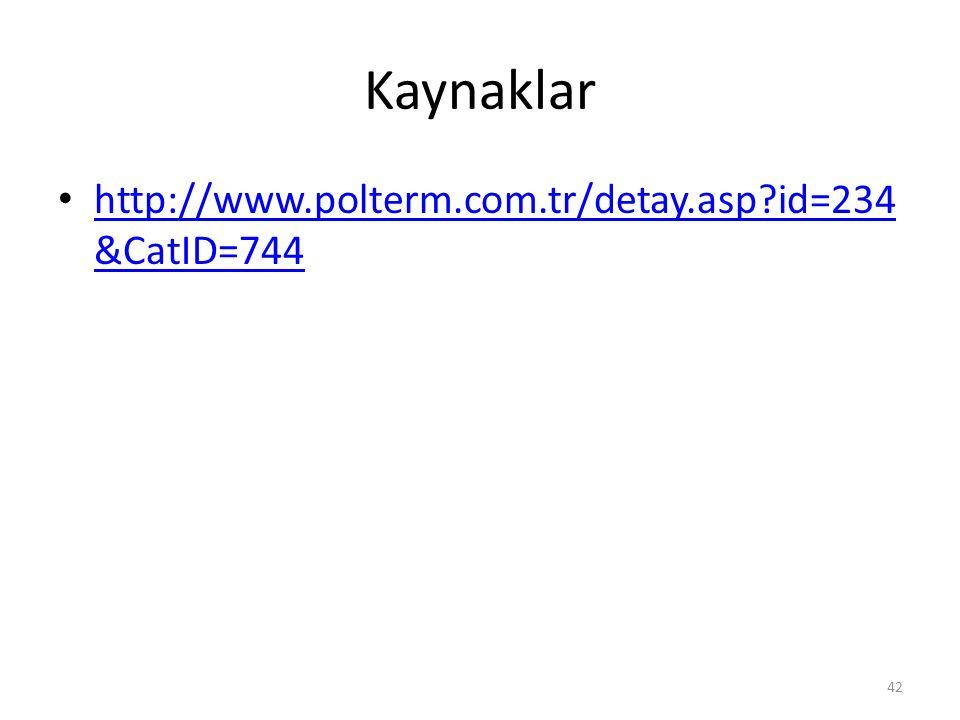 Kaynaklar http://www.polterm.com.tr/detay.asp?id=234 &CatID=744 http://www.polterm.com.tr/detay.asp?id=234 &CatID=744 42