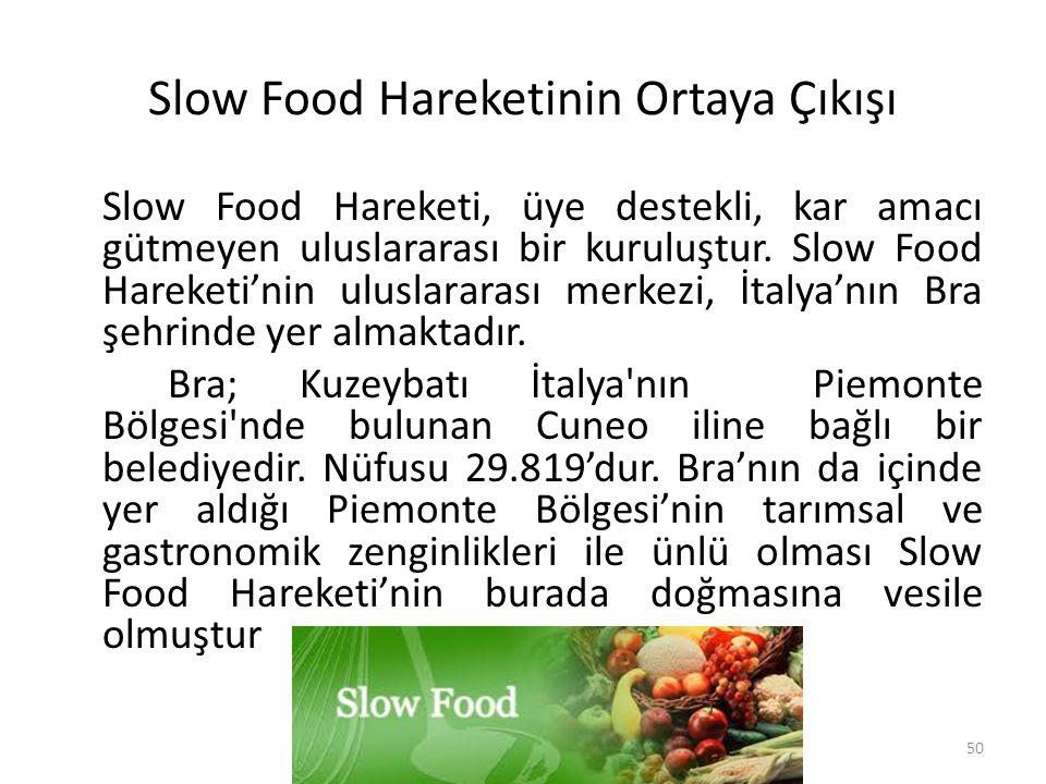 Slow Food Hareketinin Ortaya Çıkışı Slow Food Hareketi, üye destekli, kar amacı gütmeyen uluslararası bir kuruluştur. Slow Food Hareketi'nin uluslarar