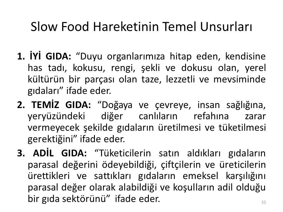 """Slow Food Hareketinin Temel Unsurları 1. İYİ GIDA: """"Duyu organlarımıza hitap eden, kendisine has tadı, kokusu, rengi, şekli ve dokusu olan, yerel kült"""