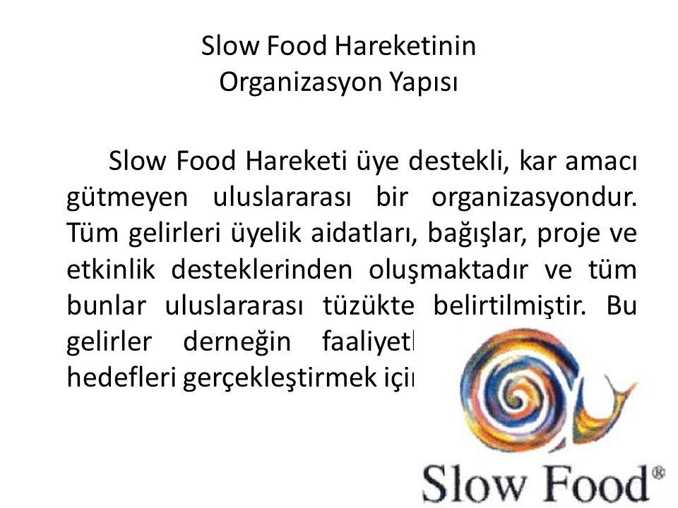 Slow Food Hareketinin Organizasyon Yapısı Slow Food Hareketi üye destekli, kar amacı gütmeyen uluslararası bir organizasyondur. Tüm gelirleri üyelik a