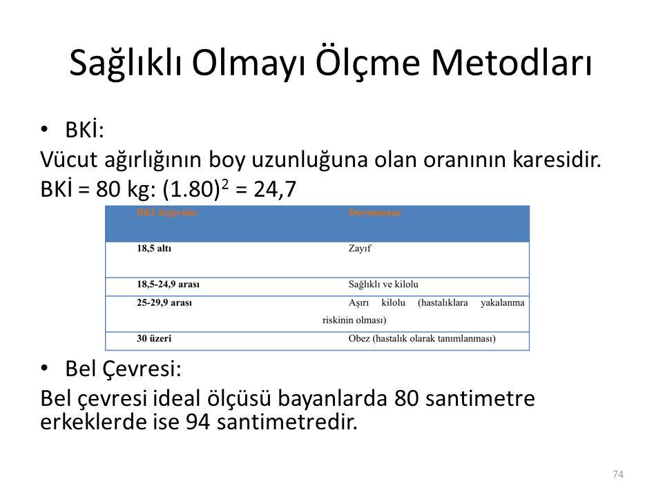 Sağlıklı Olmayı Ölçme Metodları BKİ: Vücut ağırlığının boy uzunluğuna olan oranının karesidir. BKİ = 80 kg: (1.80) 2 = 24,7 Bel Çevresi: Bel çevresi i