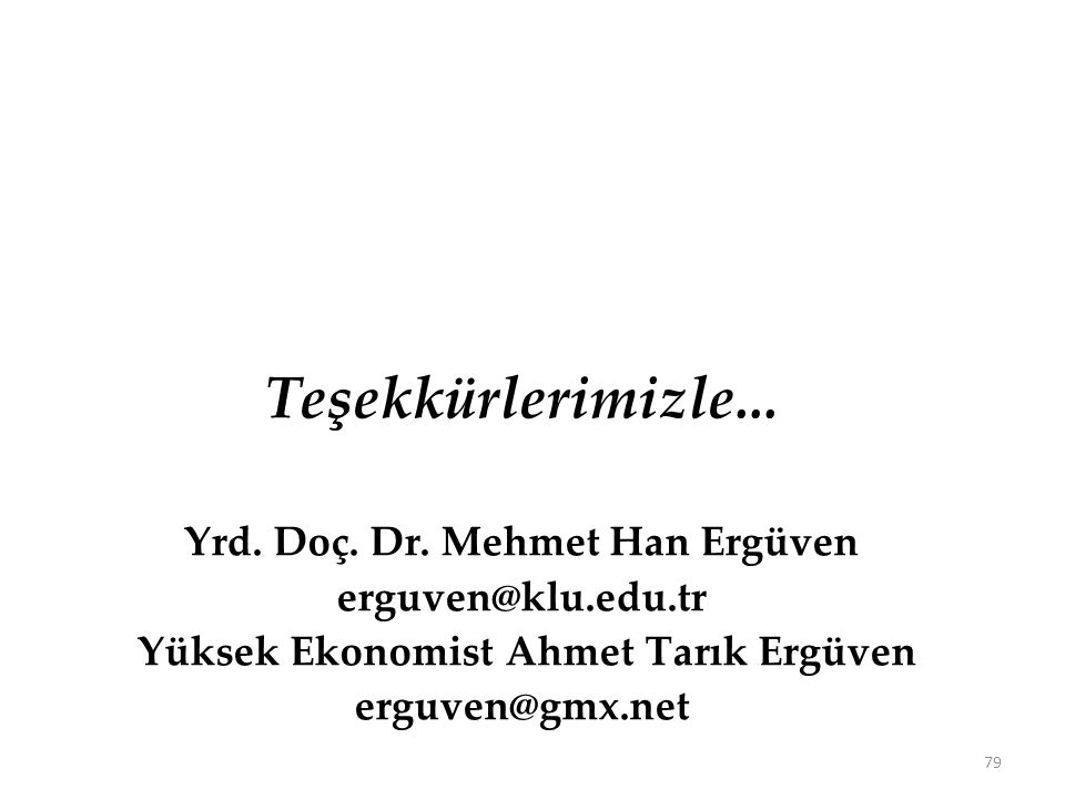 Teşekkürlerimizle... Yrd. Doç. Dr. Mehmet Han Ergüven erguven@klu.edu.tr Yüksek Ekonomist Ahmet Tarık Ergüven erguven@gmx.net 79