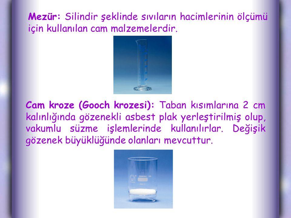Mezür: Silindir şeklinde sıvıların hacimlerinin ölçümü için kullanılan cam malzemelerdir. Cam kroze (Gooch krozesi): Taban kısımlarına 2 cm kalınlığın