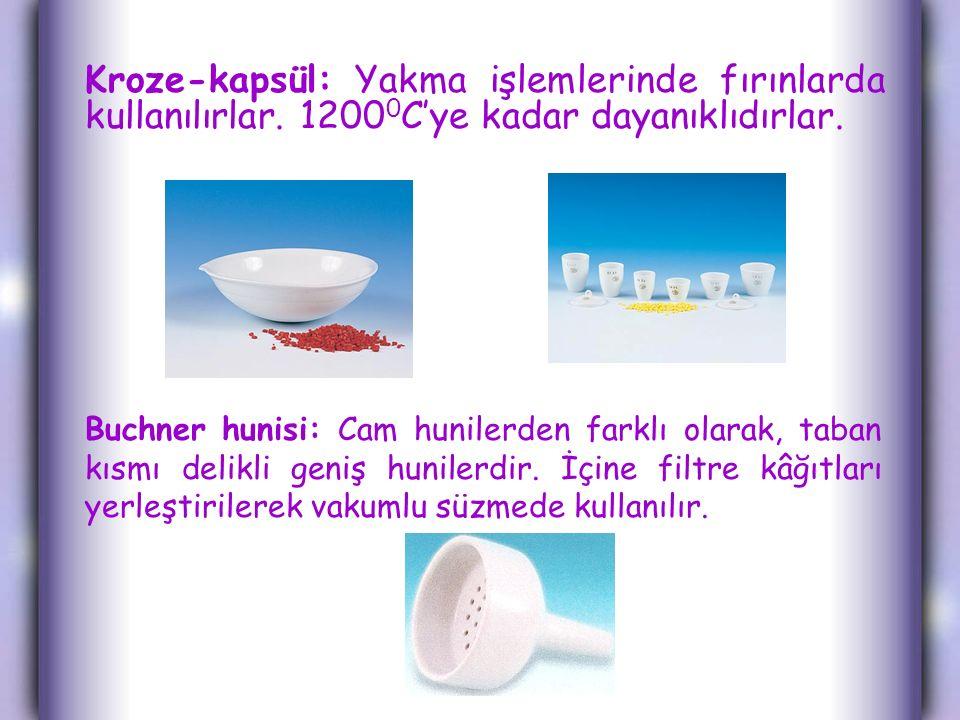 Kroze-kapsül: Yakma işlemlerinde fırınlarda kullanılırlar. 1200 0 C'ye kadar dayanıklıdırlar. Buchner hunisi: Cam hunilerden farklı olarak, taban kısm