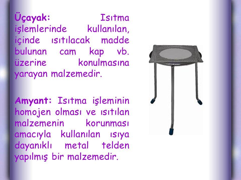 Üçayak: Isıtma işlemlerinde kullanılan, içinde ısıtılacak madde bulunan cam kap vb. üzerine konulmasına yarayan malzemedir. Amyant: Isıtma işleminin h