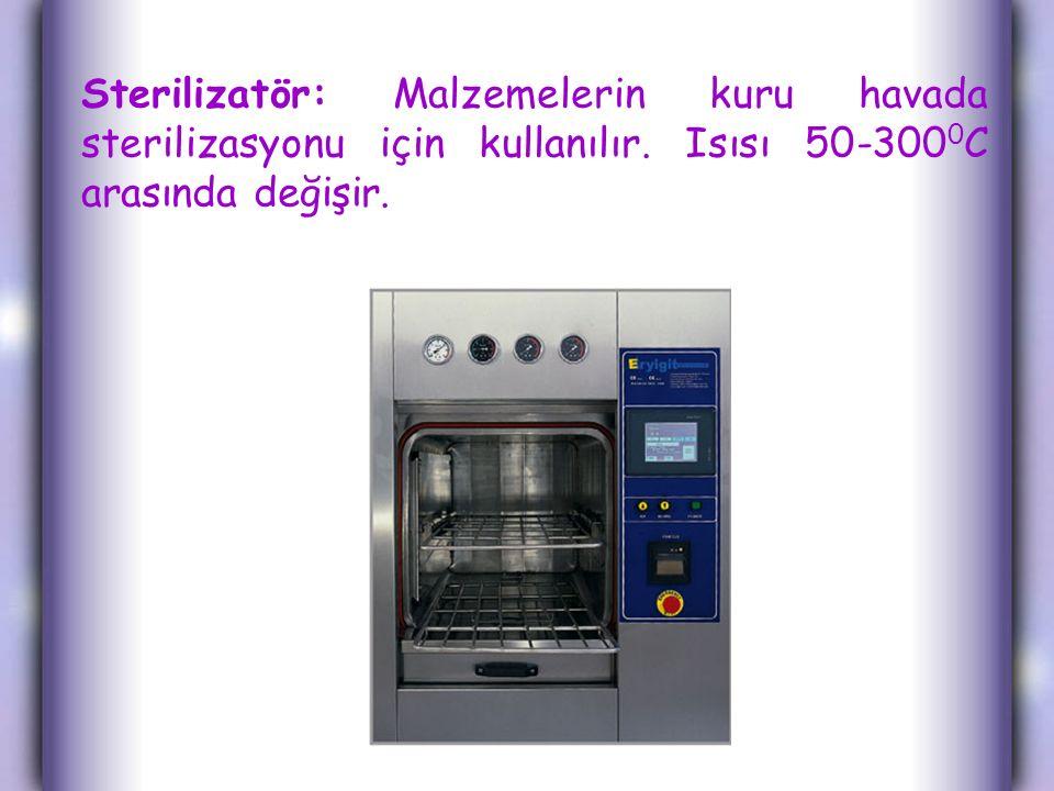 Sterilizatör: Malzemelerin kuru havada sterilizasyonu için kullanılır. Isısı 50-300 0 C arasında değişir.