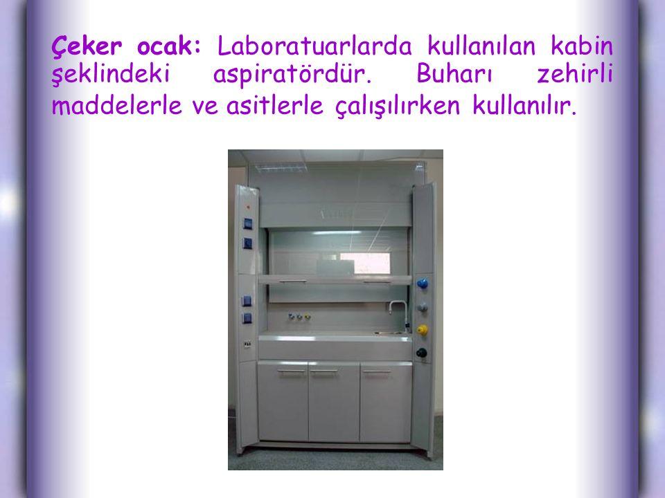 Çeker ocak: Laboratuarlarda kullanılan kabin şeklindeki aspiratördür. Buharı zehirli maddelerle ve asitlerle çalışılırken kullanılır.